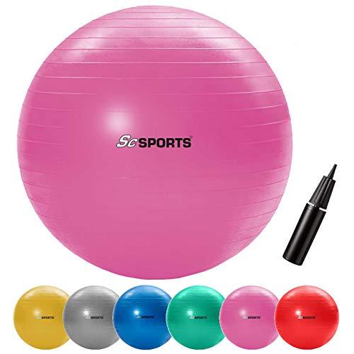 ScSPORTS Gymnastikball, Sitzball zur Entlastung der Wirbelsäule, als Yogaball geeignet, Ø 65 cm, Pink
