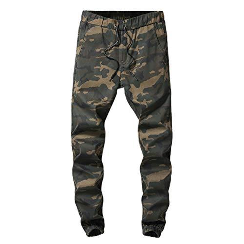 Makalon herenbroek, casual, normale pasvorm, nieuwe stijl, broek, heren, rechte snit, casual, comfortabel, slim, herenbroek, joggingpak, elastische riem (Camouflage, 30)