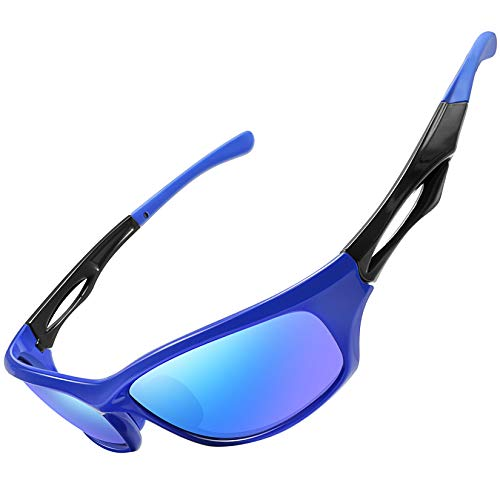 Joopin Gafas de Sol Deportivas Polarizadas con Protección UV 400 Gafas de Ciclismo, Bicicleta Montaña Moto, Golf y Deportes al Aire Libre para Hombres y Mujeres Marco azul Lente con espejo azul