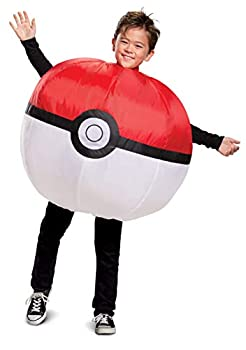 Pokemon Inflatable Poke Ball Costume Kids Size Red and White Fan Operated Expandable Character Blow Up Suit Red & White