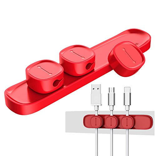 UNOOE Cable Management System Magnetic Cable Clip Desk Cord Organizer Holder for Headphones Earphones USB Data Charging Cable in Nightstand Car Home Office,3 Packs-Red