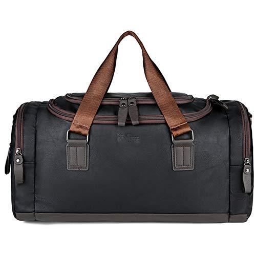 Gyubay Travel Duffel Bag Travel Bag Business Trip Handbag Men Leather Shoulder Bag Clothing Shoes Storage Space for Traveling Business Trip (Color : Black, Size : 48x24x26cm)