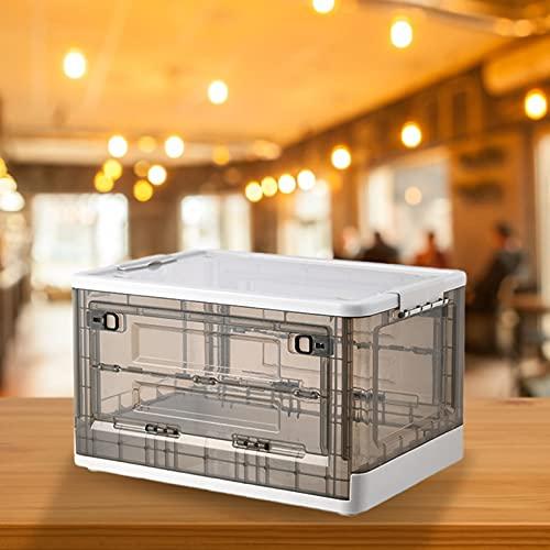 Fonduo - Caja de almacenamiento plegable de plástico con ruedas para ropa, decoración, juguetes, revistas, color blanco
