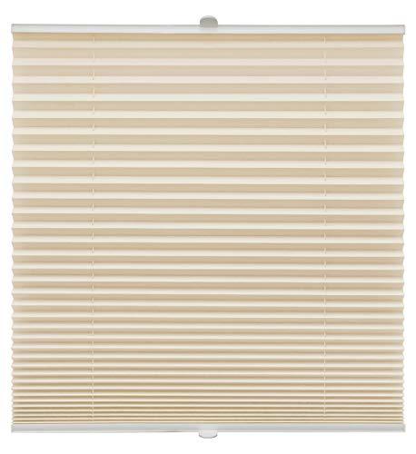 Plissee auf Maß verschiedene Farben alle Fenster Montage Glasleiste Blickdicht mit Spannschuh Sonnenschutzrollo Fensterrollo Plissee Hellapricot Breite: 111-120 cm, Höhe: 151-200 cm