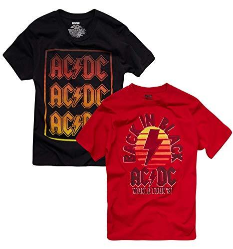 2 Pack of AC/DC Men's Back in Black World Tour Concert T-Shirts, M, L