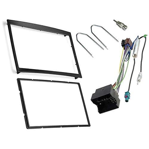 Sound-Way Kit Montage Autoradio, Marco 2 DIN Radio de Coche, Adaptador Antena,...