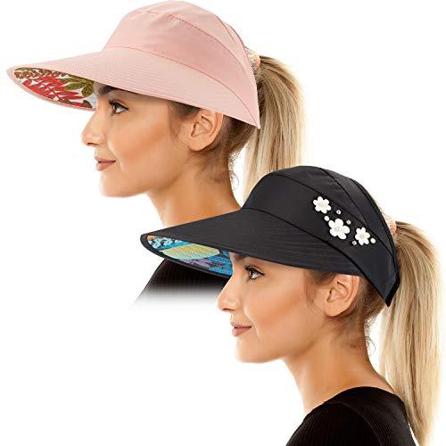 Sun Visor Hats for Women Wide Brim Sun Hat UV Protection Caps Floppy Beach Packable Visor (Black and Pink)