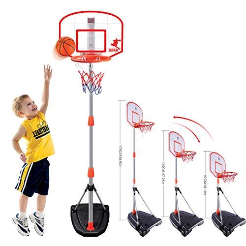 Batop 97-170CM Kinder Verstellbar Basketballkorb mit Ständer, Basketball und Scoring Gerät, Indoor Outdoor Basketballständer für Kinder