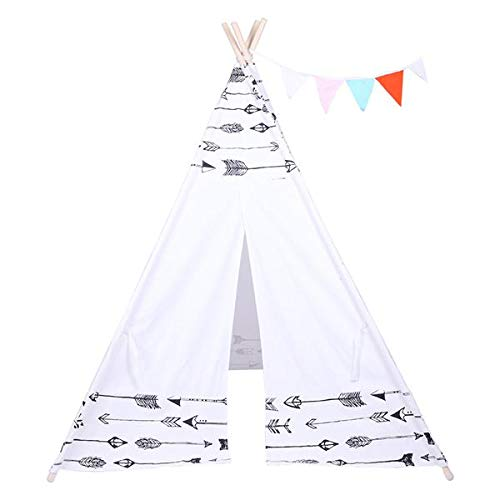 best-good Kingsea Indian Tent Children Teepee Tent Baby Indoor Dollhouse with Small Coloured Flags Roller Shade and Pocket Arrow Pattern(US Shipping)
