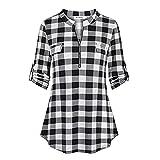 WANGTIANXUE Camiseta de manga larga para mujer, para verano y otoño, diseño de cuadros y flores, con cierre de cremallera gris XXL