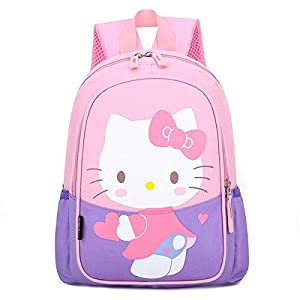 41VMkCwGOHL. SS300  - Mochila para niños con diseño de cerdito, Hello Kitty púrpura (Morado) - Hand-077