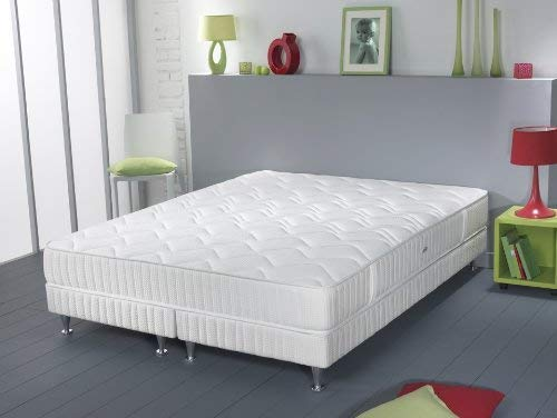 Simmons Milan Ensemble sommier + matelas ressorts ensachés garnissage latex 160x200
