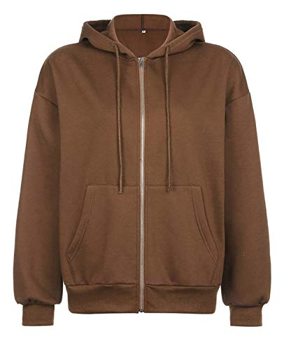 Minetom Damen Hoodie Vintage Reißverschluss Sweatshirt Samt Loose Winter Jacke Langarm große Tasche Fleece Outwear Mit Kapuze Kurzmantel A Braun 40