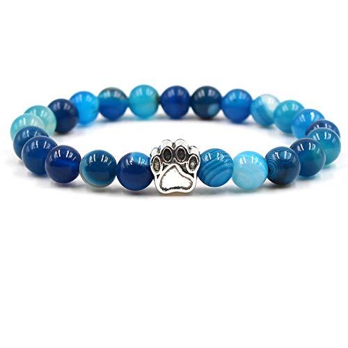 ADGJL Pulsera De Piedra Mujer,7 Chakra Brazalete De Cuentas De Piedra Natural Ágata Azul Pulsera De Yoga Elástica Pulsera De Plata con Estampado De Pata Difusor De Energía Mujer