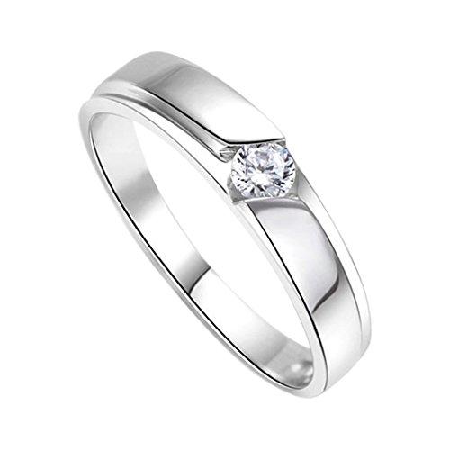 DEHANG Anillo de Plata de Pareja Mujer Hombre con Circonitas Diamantes de Compromiso Alianza Boda Aniversario Regalo San Valentín Amor - Talla 19 - con Caja de Regalo