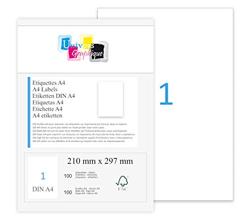 100 feuilles A4 papier adhésif blanc - Étiquette autocollante 210x297mm - planche adhésive permanente de 1 etiquette marque UNIVERS GRAPHIQUE- UGEA4 FACTURE AVEC TVA DÉDUCTIBLE