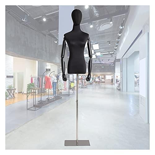 HAIPENG Maniquí de Costura Busto Hembra, Apoyos del Modelo con Brazos Madera Y Cabeza, Escaparate Soporte Exhibición Ropa Altura Ajustable, 2 Tamaños (Color : C, Size : Small)