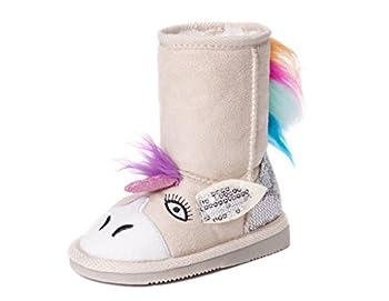 Muk Luks Girl s Luna Unicorn Boots Fashion Natural 8 M US Little Kid