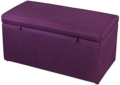 Smisoeq Ottomans Home Simple Furniture Ottoman Footstools Storage Box Stool丨Pouffe Storage Single Seater Bench丨Linen Fabric Upholstered Footstool Bedside Stool-90X43X45cm (Color : Purple)