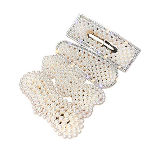 4pcs pinces à cheveux en forme de coeur perle à la main perle épingles à cheveux en strass incrusté creux barrettes rectangulaires pour les femmes filles