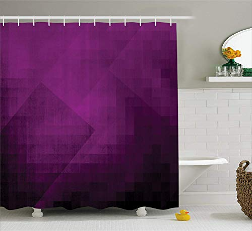 LongTrade Eggplant Shower Curtain Duschvorhang Abstract Purple Squares in Faded Color Scheme with Modern Art Inspired Style Pixelart, Fabric Bathroom Decor Set with Hooks Purple 60x72 inch