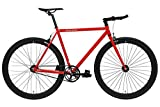 FabricBike Original Pro- Bicicleta Fixie, Piñon Fijo Flip-Flop, Single Speed, Cuadro Hi-Ten Acero, 10,45 kg. (Talla M) (Pro Red & Matte Black, S-49cm)