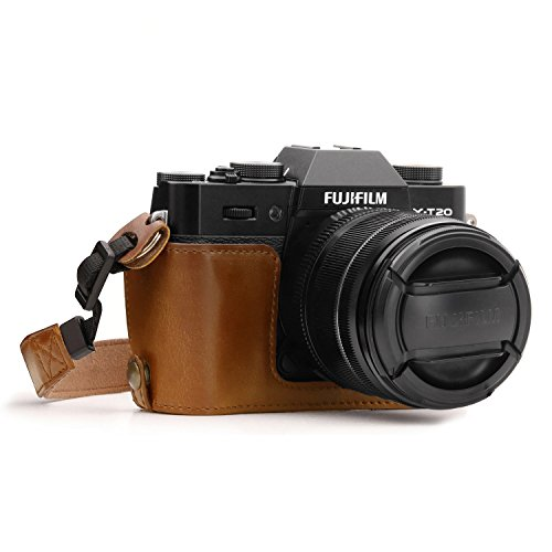 MegaGear MG959 Ever Ready Custodia metà copertura in ecopelle per Fotocamera compatibilie con Fujifilm X-T30, X-T20, X-T10 - Marrone Chiaro
