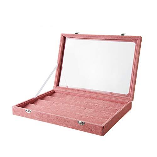 Liutao Box transparenter Glasschmuck große Kapazität Flanell Schmuck Aufbewahrungsbox Ohr Haus Halskette Ring Einfacher Schmuck-Box (Color : Pink, Größe : Small)