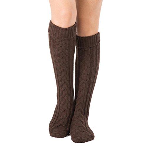 Affe Damen Mädchen Winter Gestrickt Stulpen Beinwärmer Crochet Beinstulpen Legwarmers (Braun)