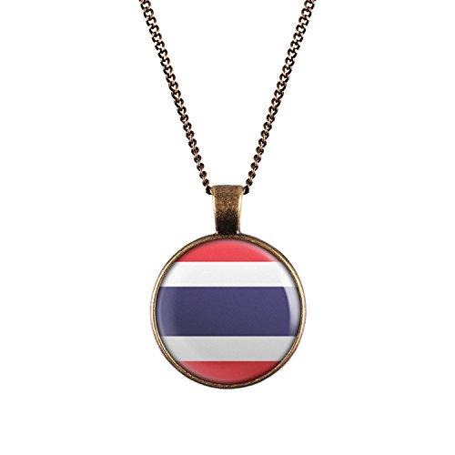 WeAreAwesome Thailand Flagge Halskette - Länderkette mit Fahne Anhänger Unisex Kette