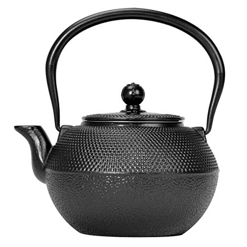Primula Black Hammered Cast Iron Teapot Japanese Tetsubin Stainless Steel Infuser for Loose Leaf Tea, Durable Construction, Enameled Interior, 40 ounce