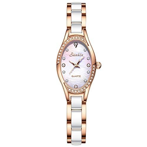 SUNKTA Relojes para Mujer Moda Cuarzo Analógico Vintage Acero Inoxidable Cerámica Blanco Ceramic Reloj de Pulsera Blanco