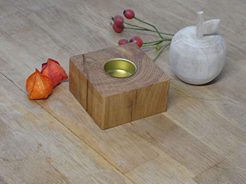 Teelichthalter 5cm Holz Eiche Massivholz Kerzenständer Teelicht Eichenholz Herbstdeko (Metall)