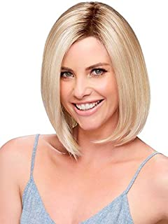 Blonde Bob Wigs for Women Short Straight Synthetic Wig Brown Roots Ombre Blonde Wig No Bangs Natural Looking Daily Party Full Wig with Wig Cap (Ombre Blonde) MLS048