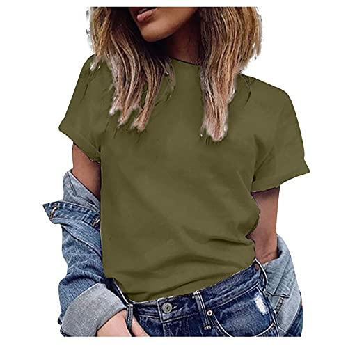 Camiseta Mujer de Color Sólido Blusas de Mangas Cortas Cuello en Redondo Camisa Casual Verano Túnica Suelta y Suave Remeras Elegante Moda Tops Ideal para Viajes,Vida Cotidiana,Salidas