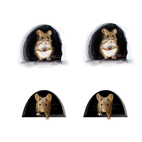 Funny Mouse Hole Murals Stickers Mouse in A Hole Wall Decal, 3D Rat Wall Sticker Mouse Hole Wall Decals for Wall Door Home Decoration (4PCS-C)