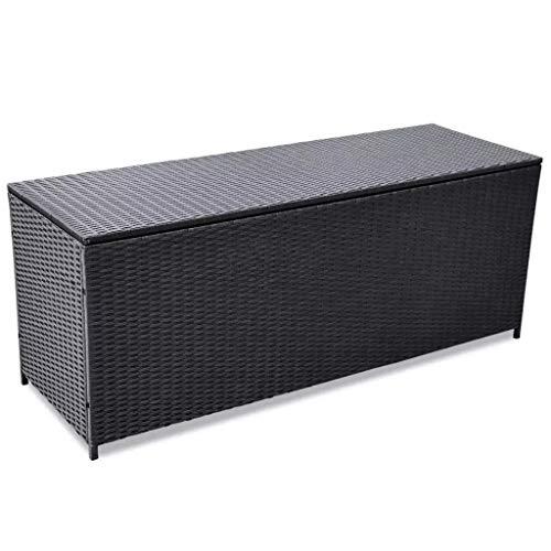 GOTOTOP Boîte de jardin en rotin noir, 150 x 50 x 60 cm, coffre de jardin imperméable, charge de 160 kg, conteneur d'extérieur multi-usages