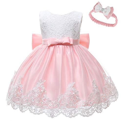 LZH Kleinkind Baby Mädchen Kleid Geburtstag Bowknot Hochzeit Tutu Prinzessin Blume Spitzenkleid, 8348-baby Pink, 10-12Monate