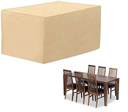 BKPH Funda para Muebles de Jardín Impermeable, protección contra el Polvo y los Rayos UV, Cubierta de Mesa y Silla para Muebles de jardín, Resistente al Agua y sin decoloración-Beige-180x160x55cm