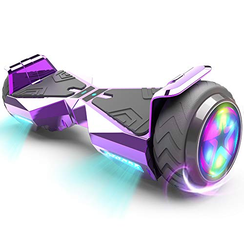 HOVERSTAR Hoverboard HS 2.0v Chrome Color Flash Wheel with LED Light Self Balancing Wheel Electric Scooter (Chrome Purple)