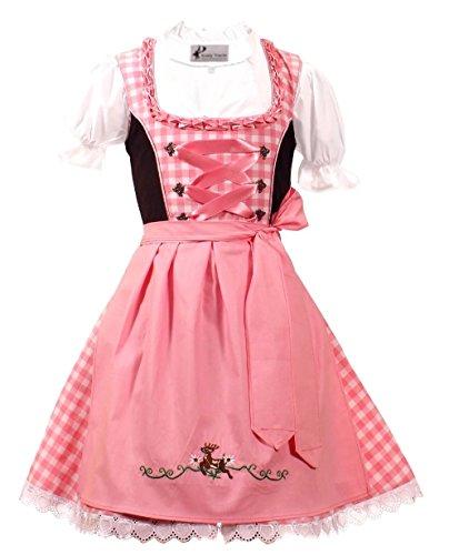 Kiddy Tracht Trachtenkleid 3tlg. Kinder Dirndl Mädchen Kleid, Rosa Weis Kariert, 104