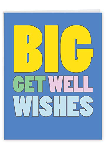 NobleWorks - Jumbo Get Well Card Funny (8.5 x 11 Inch) - Group Humor Greeting Card, Feel Better Soon - Big Get Well Wishes J2721GWG