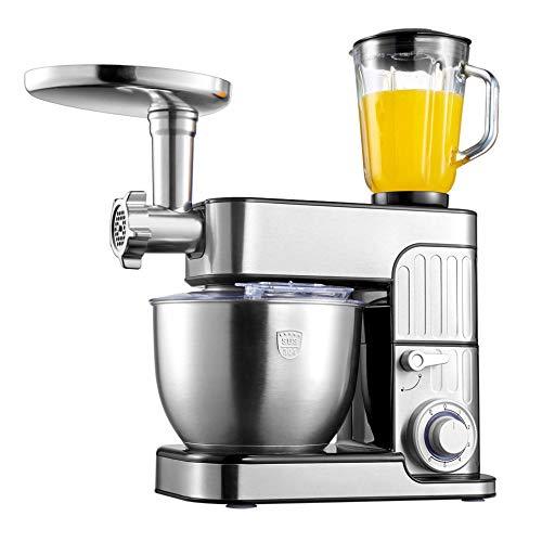 Amasadora de Pan Batidora de Reposteria 7 en 1 Multifuncional Robot de Cocina con Bol de Acero inoxidable de 7L, Picadora, Cabezal para Pasta, Embutidora de Salchichas, Licuadora,
