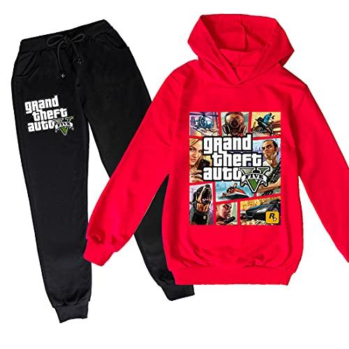 ZKDT Grand Theft Auto Sudadera con capucha con manga larga GTA 5 dibujos animados Casual Sudadera para niños y niñas 5 120 cm