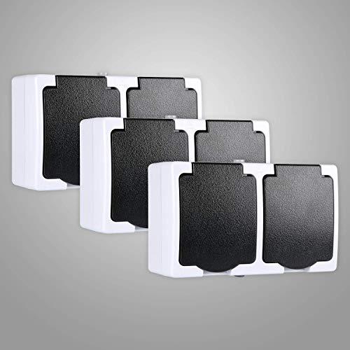 HEITECH Aufputzsteckdose für Feuchtraum IP44 3er Pack - 2fach Aufputz Schutzkontakt Steckdose AP mit Klappdeckel - Schutzkontaktsteckdose mit Kindersicherung 250V 16A 2 polig
