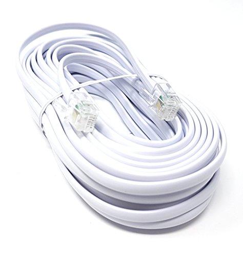 ADSL-Hochgeschwindigkeits-Breitbandmodem-Kabel, RJ11auf RJ11, lang und flach, weiß(erhältlich in 1m, 2m, 3m, 5m, 10m, 15m, 20m, 30m) 10m weiß