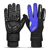 INBIKE Gants Sports Coupe-Vent Imperméable Anti-Froid Cyclisme Gants pour VTT Vélo Gants Tactiles Plein-doigs Homme Hiver (Bleu,M)