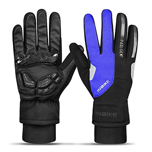 INBIKE Gel Guanti MTB Invernali Antivento Termico Touchscreen da Ciclismo Uomo per Sport Invernali,Blue