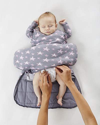 GUNAMUNA Swaddle Sack Transitional Sleeping Bag in Bamboo Rayon, for Newborn to 3 Months,Grey/Pink Stars