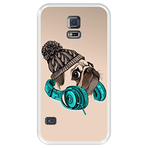 Funda Transparente para [ Samsung Galaxy S5 ] diseño [ Hipster Pug - Music It's my Escape ] Carcasa Silicona Flexible TPU